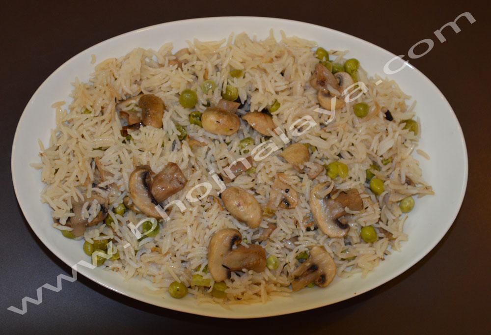 Mushroom-Peas-Pulao