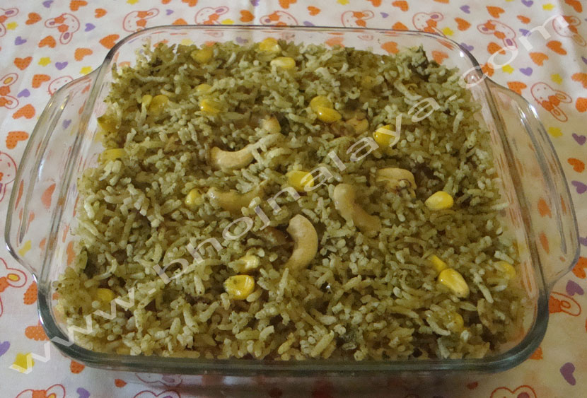 Palak Corn Rice